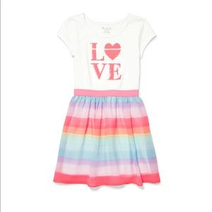 """NWT Children's Place """"LOVE"""" Colorful Dress S (5/6)"""
